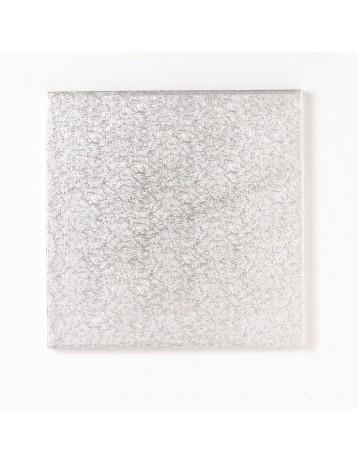 Base cuadrada plateada gruesa 25cm