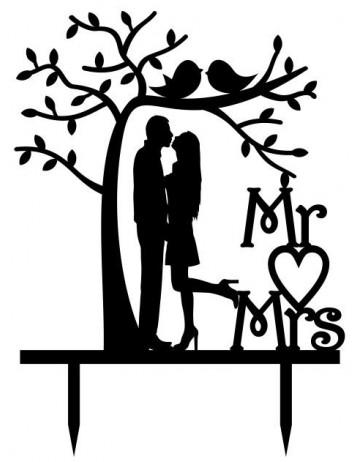 """Topper """"Mr. & Mrs."""" pareja bajo árbol"""