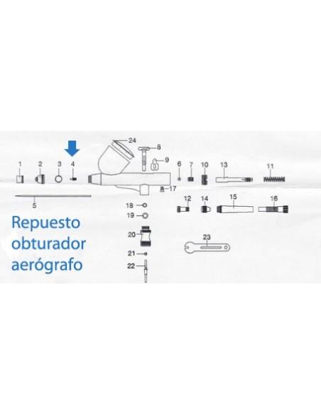 Repuesto obturador aerógrafo 0.3 Ventus