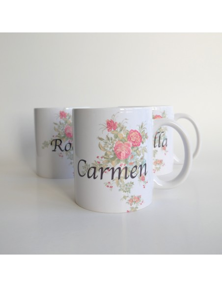 Taza floral personalizable